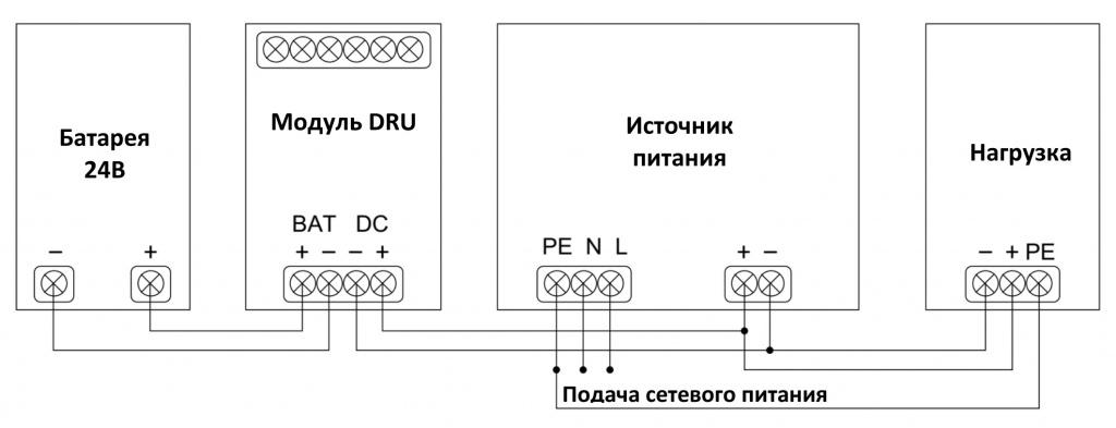 Схема подключения модуля DRU